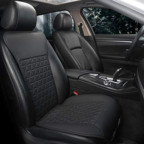 Black Panther Luxury PU Car Seat Cover Protector for Front Seat, Compatible with 95% Cars (Sedan/SUV/Truck/Van/MPV),Triangle Quilted Design - 1Piece Black