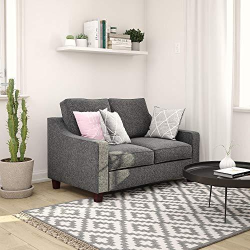 REALROOMS Omar Modern Sofa Loveseat, Small Space Furniture, Gray