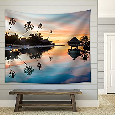 Tropical Sunset at Moorea French Polynesia Fabric Wall Small