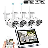 ANRAN 4CH HD 1080 Wireless Security DVR NVR with 12 Monitor Security Camera System with 4 Waterproof 960P Outdoor 36IR Night Vision IP Video Surveillance Bullet Camera Plug and Play No Hard Drive