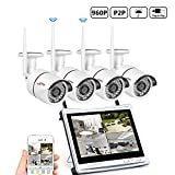 ANRAN 4CH HD 1080 Wireless Security DVR NVR with 12'' Monitor Security Camera System with 4 Waterproof 960P Outdoor 36IR Night Vision IP Video Surveillance Bullet Camera Plug and Play No Hard Drive