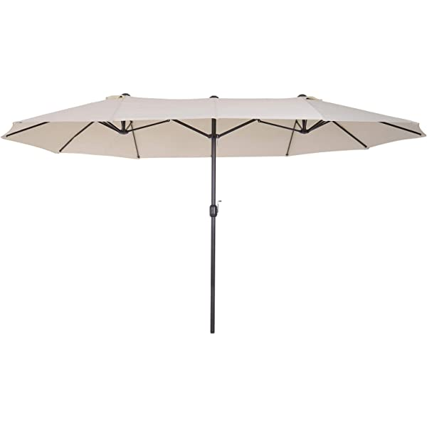 Sekey® Aluminio Sombrilla Parasol de Doble Juego para terraza ...