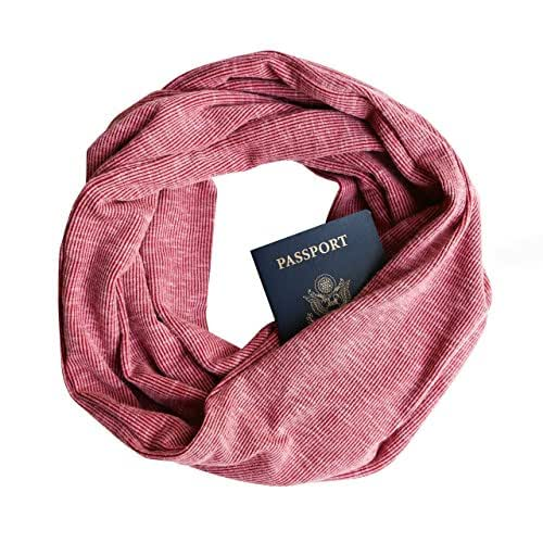 Red Rib Knit Infinity Scarf with Zippered Secret Pocket