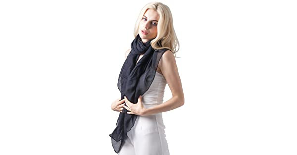6c705207c0b1e MissShorthair Womens Long Scarf in Solid Color Large Sheer Shawl Wraps for  Evening(Black)