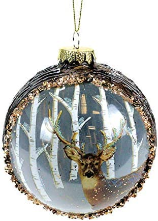 Amazon Com Glenhaven Deer With Trees Ball Ornament Home Kitchen