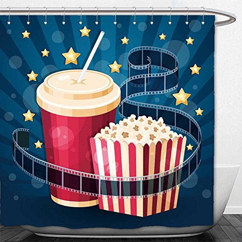 Cola Gazebo (Beshowere Shower Curtain illustration with popcorn box cola film strip and stars on the blue stripy background)