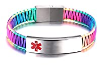 Free Engraving Medical Alert ID Bracelet for Women with Nylon Rope Braid Wrapped Link 6.0-7.5 inches