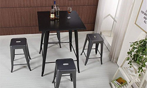 Mimo Life B-61-Gun Metal NEW 24 Stools Tolix Style Backless Indoor Outdoor Counter Height Stackable Bar Chairs(Set of 4) by Mimo Life (Image #5)