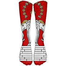 Laos Elephant Crown Badge Flag Crew Sock Long Socks Sports Socks For Travel Leisure For Women And Men - Best Travel & Flight Socks - Running & Fitness.