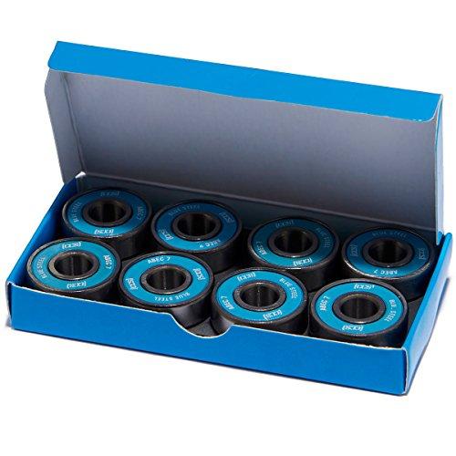 CCS Premium Skateboard/Longboard Blue Steel Bearings ABEC 7 (Pack of 8) ABEC 7 Bearings (8 Pack)