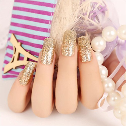 JINDIN 24 Sheet French False Nails Long Acrylic Glitter Fake Nail Tips with Glue Sticker Shiny Finger Nail for Women