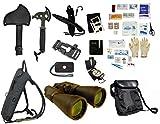 Survival Camping Hiking Kit: Emergency First Aid, 20X70 Binoculars Green,Sharpener, Axe, Fire Starter Blade, Whistle Flint Striker Belt Buckle, Hydration Backpack, Multi Tool, Compass, Signal Mirror