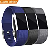 Mornex Band Compatible Fitbit Charge 2 Bands, Classic Bracelet Adjustable Replacement Wristband TPU Strap Sport Watch Band Metal Clasp