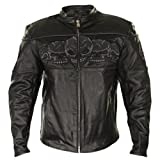 Xelement BXU6050 Mens Black Armored Leather Motorcycle Jacket with Skull Embroi - Medium