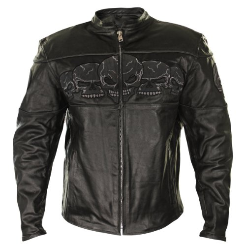 Xelement BXU6050 Mens Black Armored Leather Motorcycle Jacket with Skull Embroi - 2X-Large