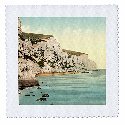 - 3dRose the White Cliffs of Dover-England-Vintage Photograph Quilt Square, 8 x 8