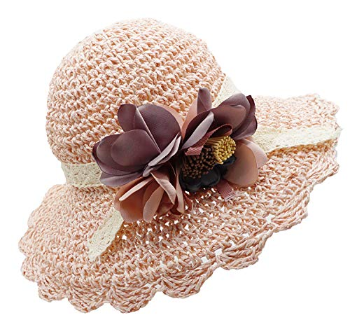 Bienvenu Kids Girl Summer Straw Hat with Flowers Beach Sun Protection Hats,Style2_Light Pink]()