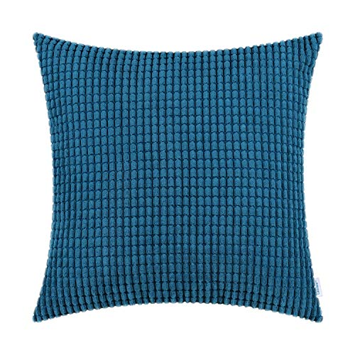 (CaliTime Cozy Throw Pillow Cover Case for Couch Sofa Bed Comfortable Supersoft Corduroy Corn Striped Both Sides 18 X 18 Inches Deep Sea Blue)