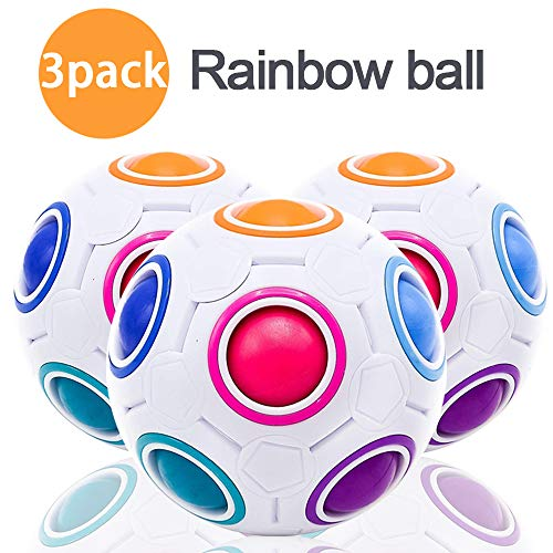 Dreamoo 3Pcs Magic Puzzle Rainbow Ball Fidget Cube Toy for Kids Adult Stress Relief Anxiety Challenge Match Colors Game 3D Puzzle Sensory Play Ball Brainteaser Preschool Education Birthday Gift by Dreamoo