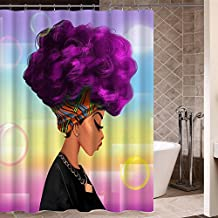 African Woman Shower Curtain with Purple Hair Afro Hairstyle Design Portrait Picture Print Polyester Fabric Bathroom Curtain for Afro Decor
