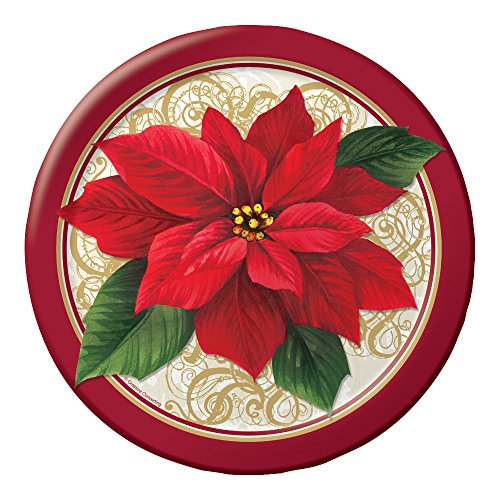 Sturdy Style Round Paper Dinner Plates, Poinsettia Lace, 8-Count