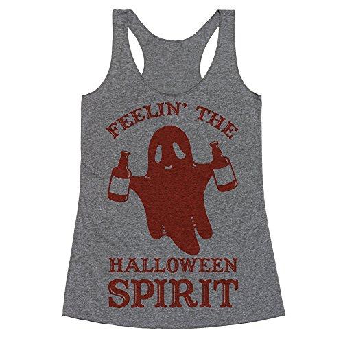 LookHUMAN Feelin' The Halloween Spirit Medium Heathered Gray Women's Racerback Tank