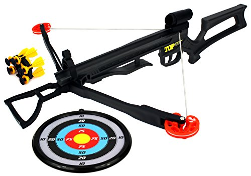 Velocity Toys Top Dog Shooter Children's Kid's Toy Crossbow Dart Play Set w/ Foot Stirrup, Practice Target, 5 Suction Darts w/ Holder, Mock Scope