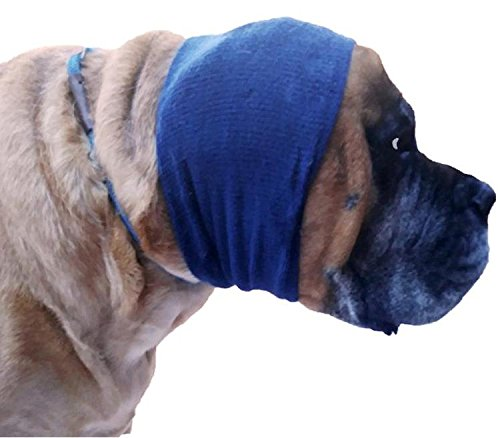 Happy Hoodie X-Large, Navy Blue for big dogs like Shepherds, Goldens, Chows, Malamutes, Pit Bulls, helps calm, comfort and protect your - Navy Bull Blue