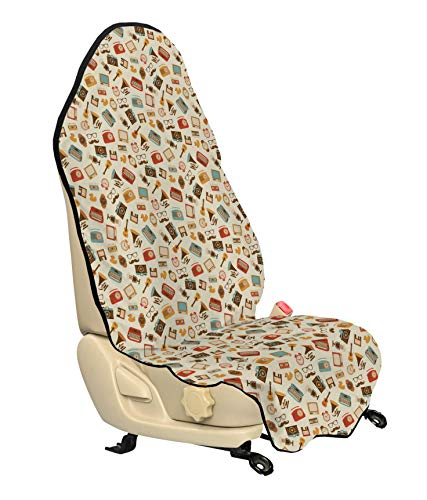 Ambesonne Vintage Car Seat Cover, Retro Pattern Old Fashioned Icons Alarm Clock Typewriter Gramophone Radio Cassette, Car and Truck Seat Cover Protector with Nonslip Backing Universal Fit, Multicolor (Cassette Car Alarm)