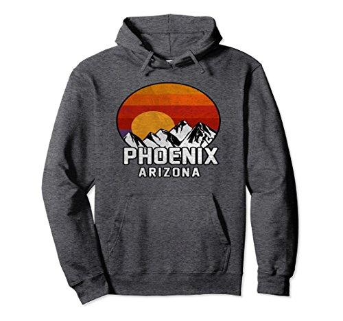 Unisex Phoenix Arizona Retro Mountain Sunset Hoodie Small Dark Heather
