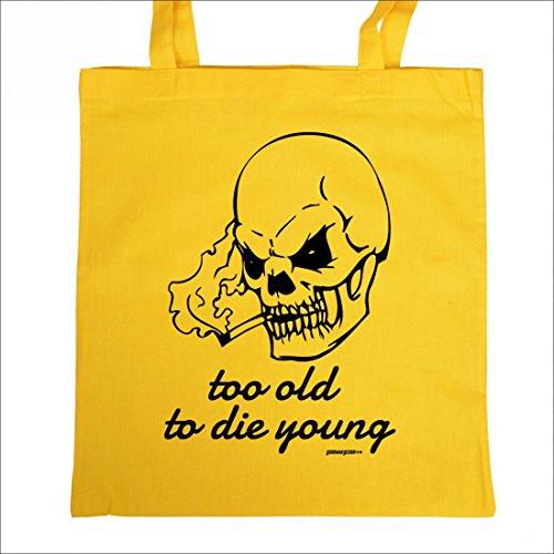 Bedruckte Stofftasche - To old to die young - Motorrad - Tasche Baumwolltasche Beutel Tragetasche
