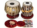 Maharaja Musicals Tabla Set, Professional, 3.5 Kilograms Brass Bayan - Ganesha and Rose Carving , Sheesham Tabla Dayan, Padded Bag, Book, Hammer, Cushions, Cover, Tabla Hand Drums Indian (PDI-BHD)