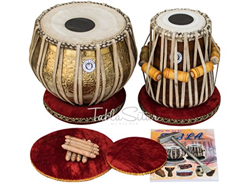 Maharaja Musicals Tabla Set, Professional, 3.5 Kilograms Brass Bayan - Ganesha and Rose Carving , Sheesham Tabla Dayan, Padded Bag, Book, Hammer, Cushions, Cover, Tabla Hand Drums Indian (PDI-BHD) by Maharaja Musicals