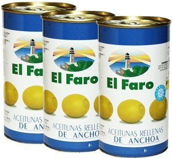 El Faro Olive Stuffed with Anchovy 12 oz Imported from Spain Pack of 3 ()