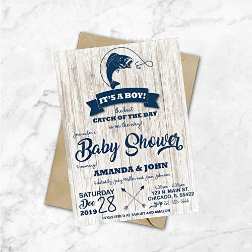 Fishing Baby Shower Invitations | Fishing Shower Invitations | Fishing Theme Party Invites | Nautical Baby Shower | Boy Baby Shower | Blue]()
