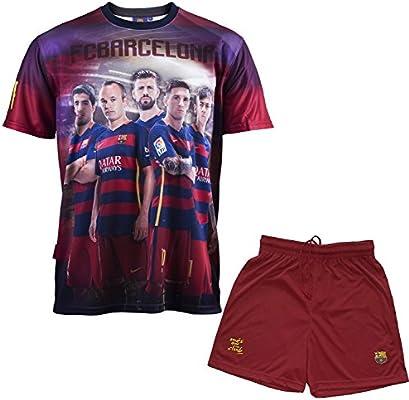 F.C. Barcelona Conjunto oficial de camiseta y pantalones cortos para niño, diseño de Iniesta, Messi, Suárez, Neymar y Piqué, azul, 14 años: Amazon.es: Deportes y aire libre