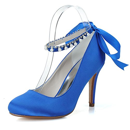 Qingchunhuangtang@ One-Strap Tip Strap Shoes Elegant Woman Shoes Name Yuan Temperament Annual Banquet Party Wedding High Heels,40, Blue Bow Trim Pump