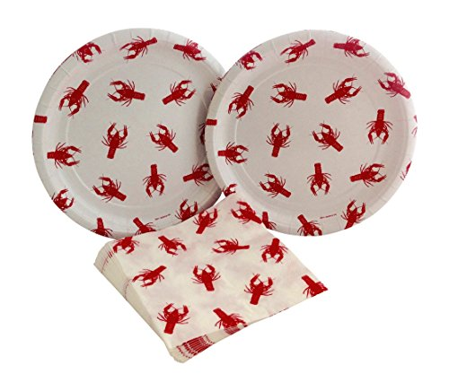 Paper Plate Fish - Crawfish Lobster Boil Party Bundle with Paper Plates and Napkins for 16 Guests