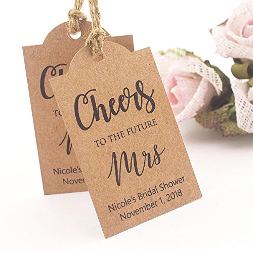 Summer-Ray 50pcs Personalized Brown Kraft Cheers to the future Mrs Bridal Shower Thank You - Personalized Bridal Shower Tags