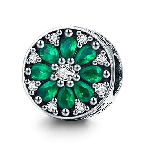 Calvas 100% 925 Sterling Silver Summer Collection Luminous Green Crystal CZ Round Beads fit Bracelet & Necklaces Jewelry SCC629