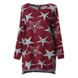 Clearance!Youngh New Womens Blouses Star Print Solid Blouses O-Neck Loose Long Sleeve Casual Fashion sweatshirt Blouse Shirt Tops