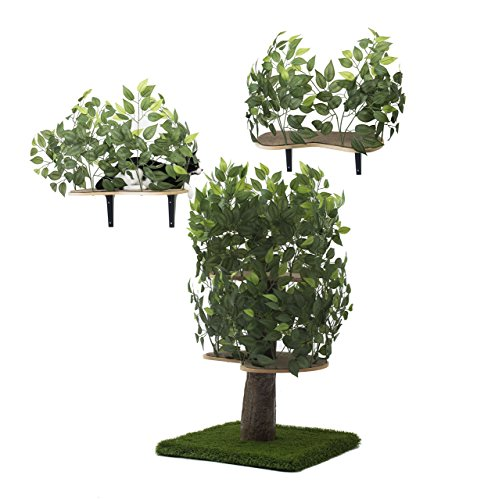 On2Pets Cat Condo Furniture Bundle Deal, Tree House Tower for Climbing, Playing, Scratching, and Relaxing (Cat House That Looks Like A Tree)