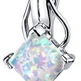 Created Opal Pendant Necklace Sterling Silver