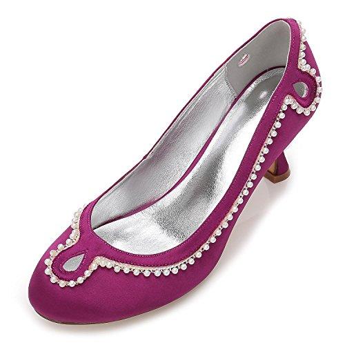 Heel Bridal Shoes Satin Rhinestone Toe L Wedding Purple Buckle YC R17061 Women 36 Closed Wedding Low Block qx7xZv6C