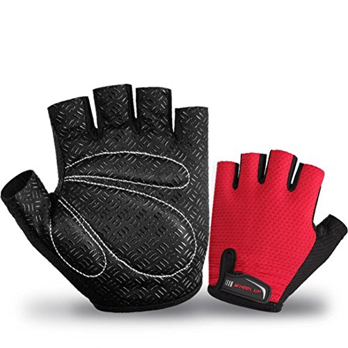 Price comparison product image Dartphew Bike Accessories, Fashion Outdoor Half Finger Cycling Gloves Anti-slip Anti-skid Soft Lycra Breathable Anti-slip shock absorption For Outdoor Hiking Camping Hunting Cycling (L,  Red)