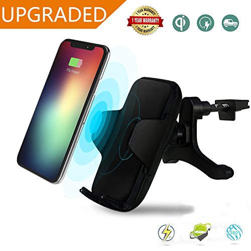 Wireless Charger Car Mount, Manba Fast Wireless Charging Air Vent Phone Holder iPhone X 8 8 plus Samsung Galaxy S8 S8 Plus S7 S7 Edge and All Qi Enabled Devices