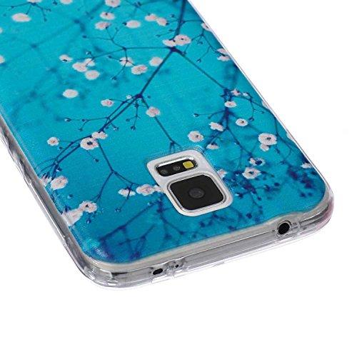 [Extremadamente Delgada] Funda 3D Silicona Transparent para Samsung Galaxy S5 ,Funda TPU Ultra Slim para Samsung Galaxy S5 , TOCASO Case Fina Slim Fit Cristal Clear, Transparent Slicona Clear Cover Gl la Flor del Ciruelo