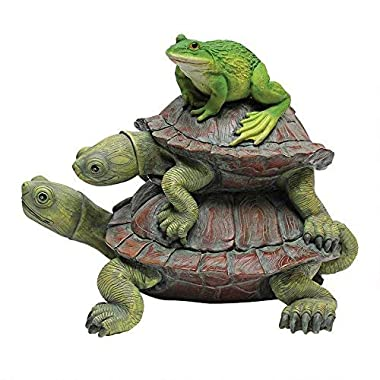Design Toscano In Good Company Frog and Turtles Garden Animal Statue, 11 Inch, Polyresin, Full Color
