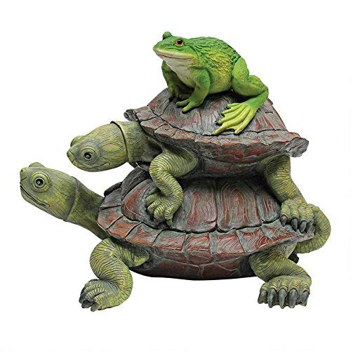 (Design Toscano In Good Company Frog and Turtles Garden Animal Statue, 11 Inch, Polyresin, Full Color)