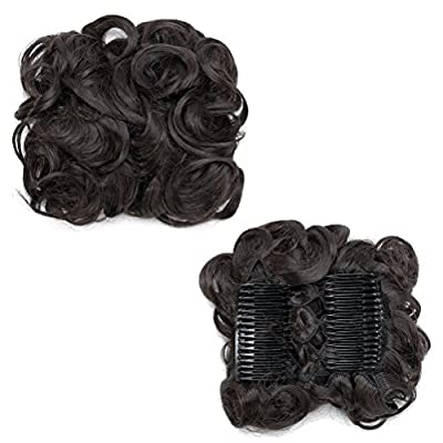Combs Clip in Bun Claw Jaw on Updo Hairpiece Extensions Wavy Donut Chignons Wrap Around Scrunchy Blonde Brown Black